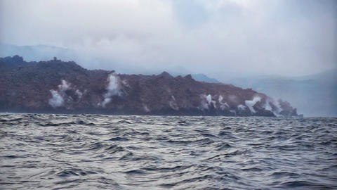 Hot Volcanic Lava Ffalls Into Sea Footage