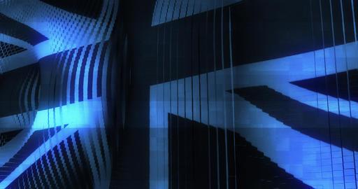 Futuristic Glitching UK United Kingdom flag waving in computer technology ominou Animation