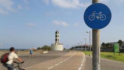 Bicycle route at Tel Aviv-Jaffa Promenade Footage