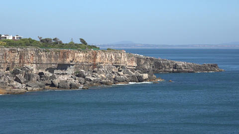 Vista Of Cliffs And Blue Ocean Water Footage