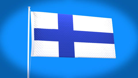the national flag of Finland Animation