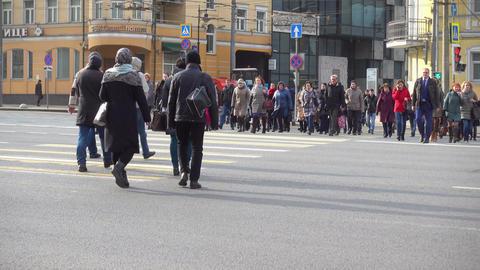People Walking Throught Pedestrian Crossing Footage