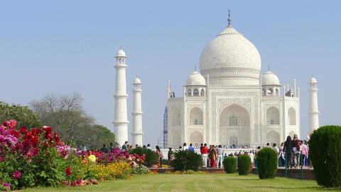 Taj Mahal India Flowers People 4k Footage