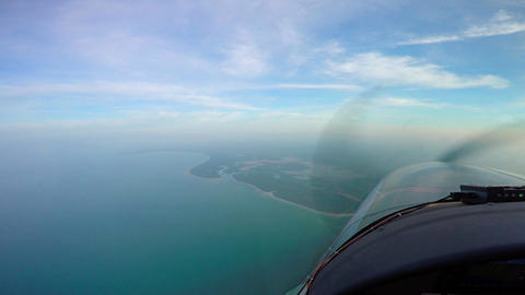 Flying single-engine aircraft over Tanzania. Africa Stock Video Footage