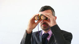 businessman with binocular foresee the future Footage