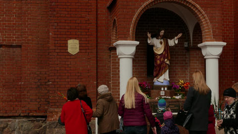Ungraded: People Walk Next to Statue of Jesus Christ at Entrance to The Footage