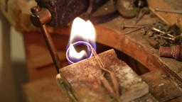 Copper jewelry soldering Footage
