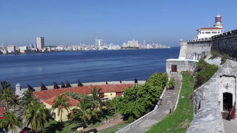 Cuban Urban Landscape Castle Monument Caribbean Sea In Havana Cuba Footage