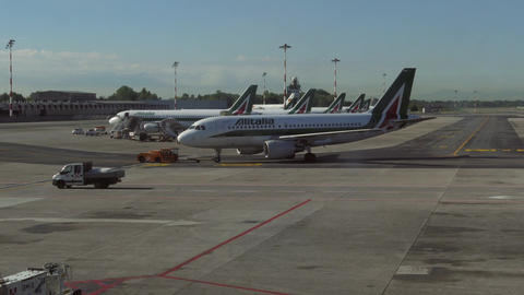 Linate City Airport In Milan Italy With Airplane Plane Jet Filmmaterial