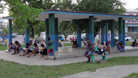 People Connecting To Wireless Wifi Internet In Park Havana Cuba