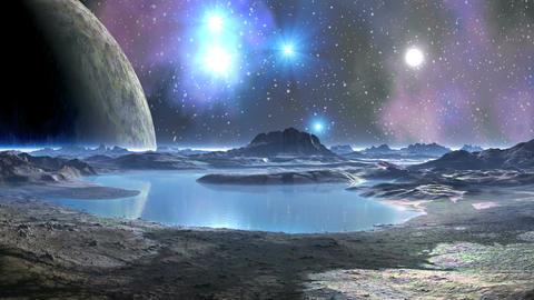 A Huge Moon in the Sky Alien Planet CG動画素材