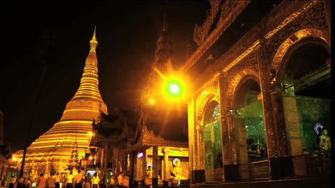 Shwedagon pagoda in Yangon of Myanmar night hyper lapse smooth zoom Footage