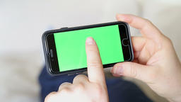 green screen inside phone with finger touch screen gestures Footage
