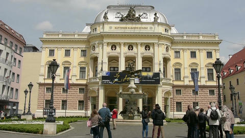 the historic palace of Slovak National Theater Footage