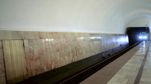 Arriving subway train 80-760 Oka at metro station Avamotornaya in Moscow Footage