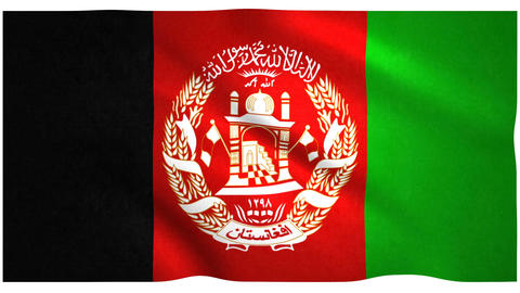 Flag of Afghanistan waving on white background Animation