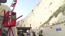 Red funicular climbing Rosh Hanikra mountains Footage