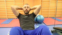 Sit Ups in the gym Footage