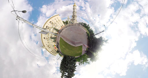 tiny planet Uspenskiy cathedral Footage