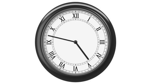 Clock with Roman Numerals. HD 1080. Loop. Isolated on White Animation