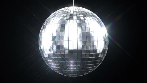 Beautiful Disco Ball Spinning seamless with Flares on Black Background. Loop-abl Animation