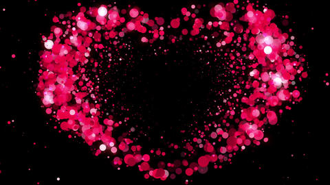 Heart Shape made of Pink Particles Beating. Beautiful looped 3d animation. HD 10 Animation