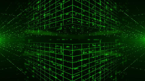 Abstract digital background with green laser rays. Light... Stock Video Footage