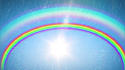 Beautiful Rainbow with the Sun and Rain. Time Lapse. HD 1080 Animation