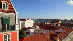 The City Of Lisbon From Balcony Footage