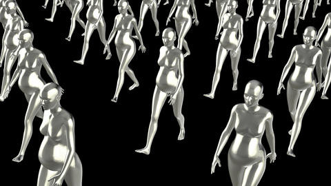 A crowd of pregnant women go ahead, loop, animation, Alpha channel Animation