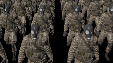 The soldier With a gas mask is walking ,loop, animation, Alpha channel