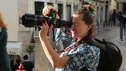 Woman videographer with dslr Footage