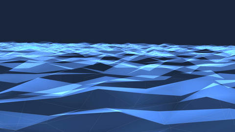 Flying over blue polygon landscape. Science concept. Motion graphics background Animation