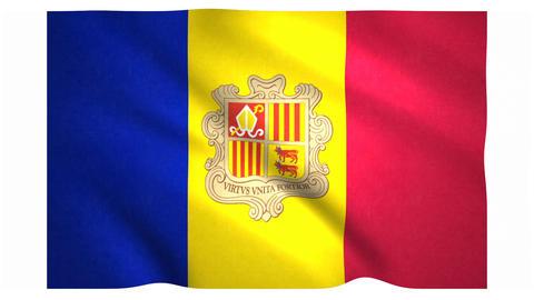 Flag of Andorra waving on white background Animation