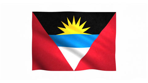 Flag of Antigua and Barbuda waving on white background Animation