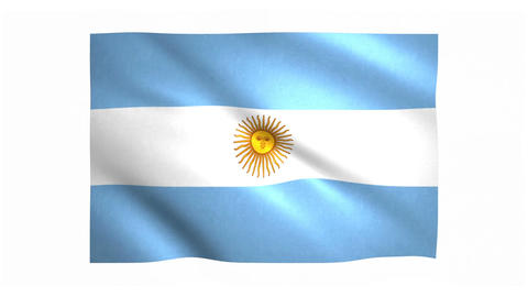 Flag of Argentina waving on white background Animation