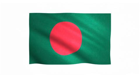 Flag of Bangladesh waving on white background Animation
