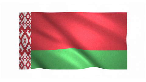 Flag of Belarus waving on white background Animation
