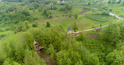 Panorama of countryside in the mountains. Aerial Footage
