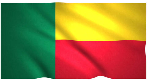 Flag of Benin waving on white background Animation