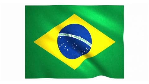 Flag of Brazil waving on white background Animation