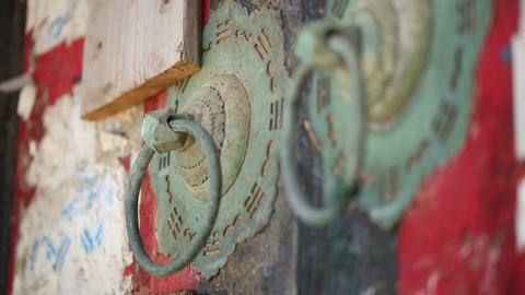 Chinese old-fashion wooden door and iron door knocker Footage