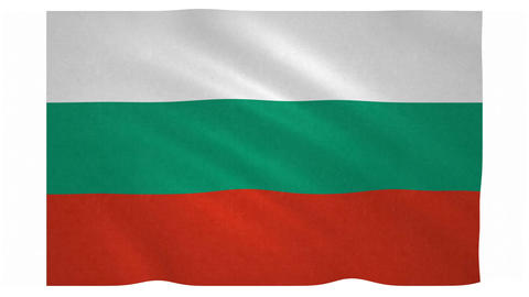 Flag of Bulgaria waving on white background Animation