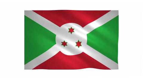 Flag of Burundi waving on white background Animation