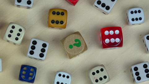 Various colorful dice. Gambling concept. turntable counterclockwise Footage