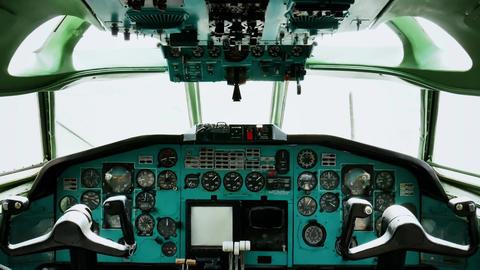 Old passenger plane cockpit console 4k Live Action