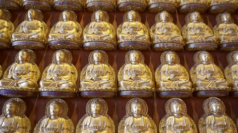 Golden buddha at wall in temple (Panning shot) Filmmaterial