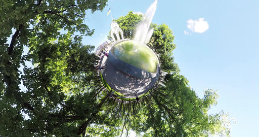 tiny planet Fountain in the center of Kharkov Ukraine Footage