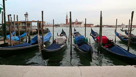 Gondolas in Venezia, Italy Live Action
