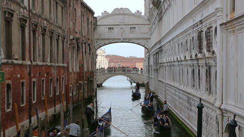 Gondolas in the canals near the Bridge of Sighs Footage